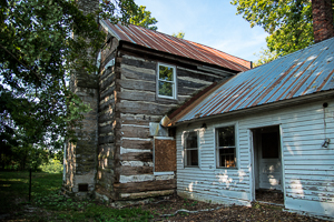 1812 cabin built by Elijah and Sarah Pepper. Elijah was one of the first bourbon distillers